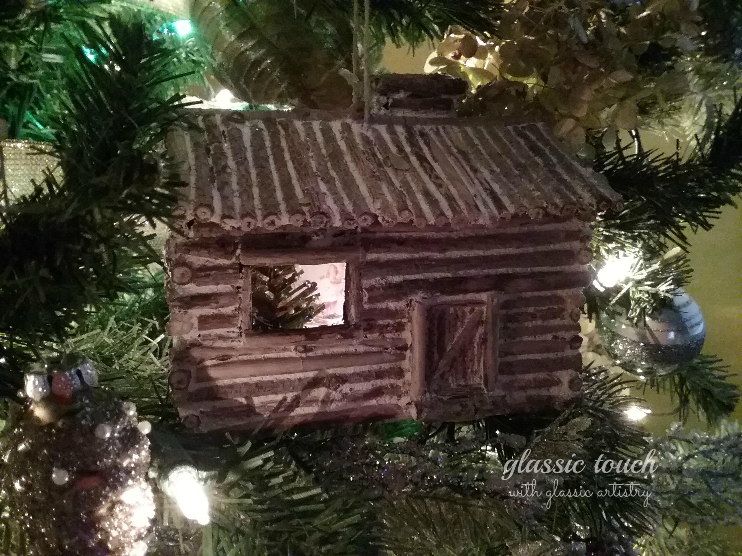 Miniature log cabin christmas tree ornament diy u glassic touch